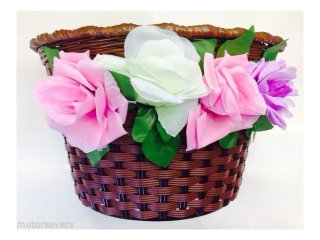ALPHA PLUS Vintage plastic wicker style junior basket inc flowers click to zoom image