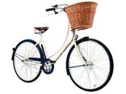 "PASHLEY Sonnet Pure 22.5"" Ivory frame with Midnight Blue mudguards and chain  click to zoom image"